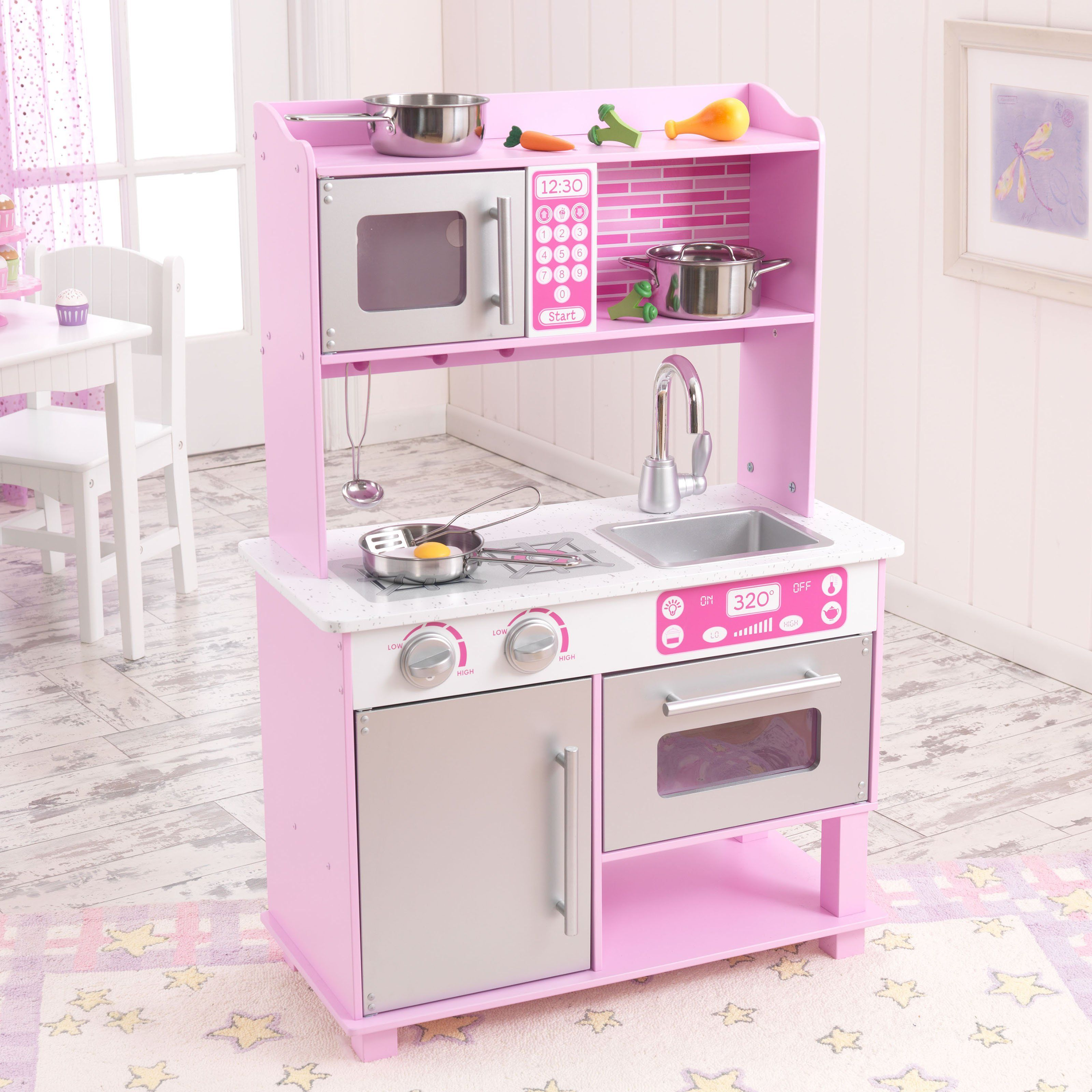 Kidkraft Pink Toddler Play Kitchen With Metal Accessory Set |  Www.playkitchens.com
