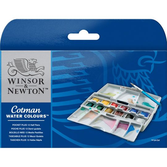Winsor Newton Cotman Watercolor Pocket Plus Set 12 Half Pans