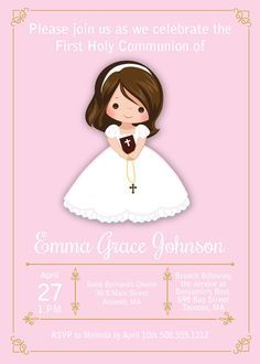 girl first communion invites floral first communion invites