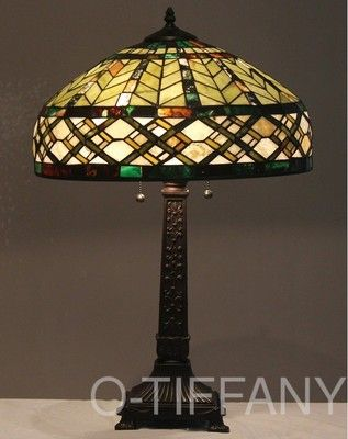Tiffany Style Stained Glass Lamp Shade Jade 18 Wide Shade Only For