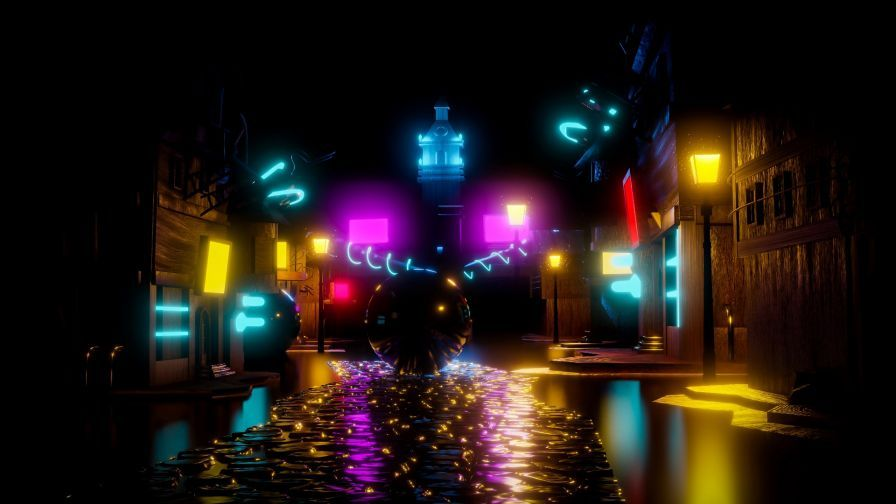 Colorful Neon Balls At The Street Hd Wallpaper Wallpapers Net