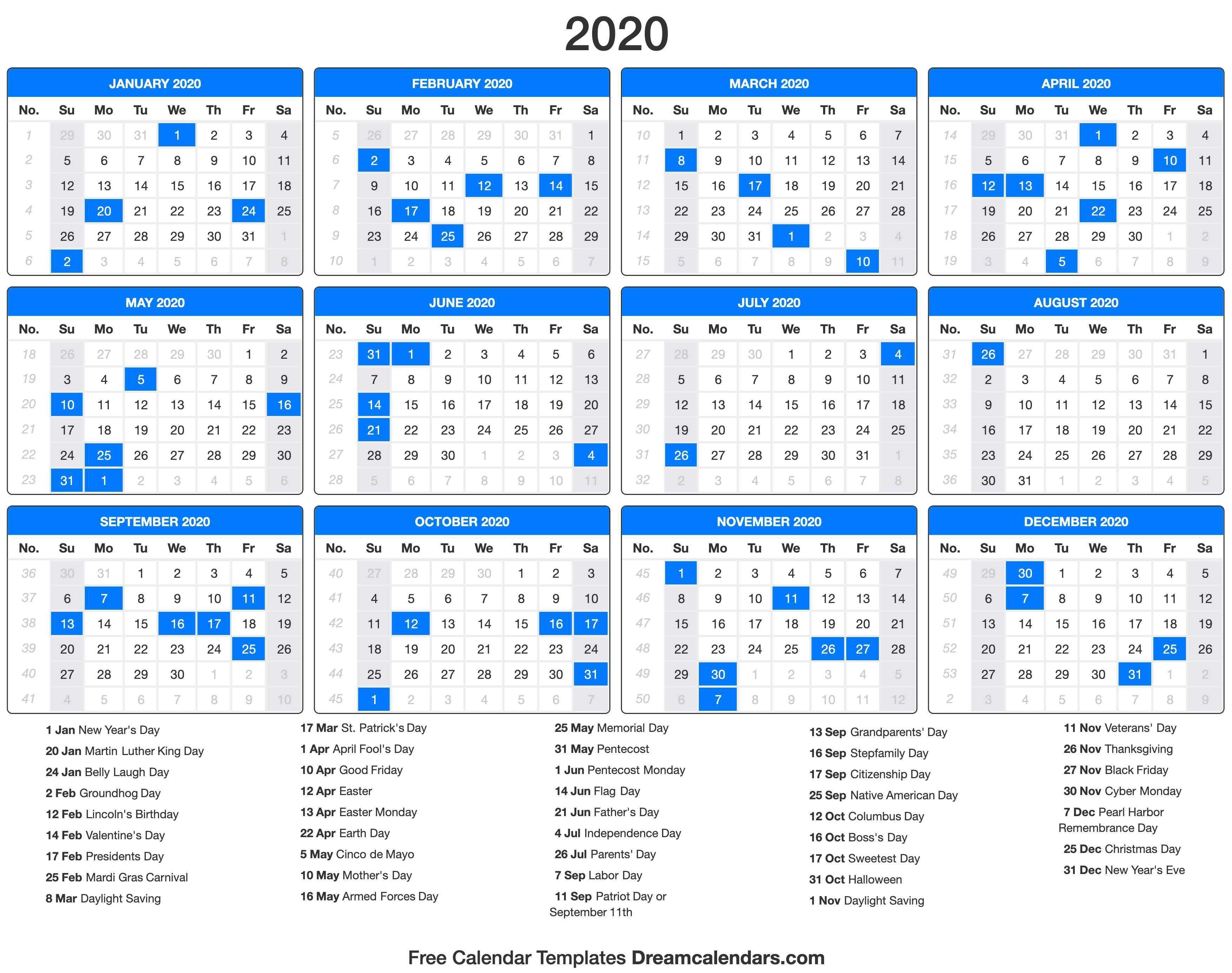Printable 2020 Calendars With Holidays