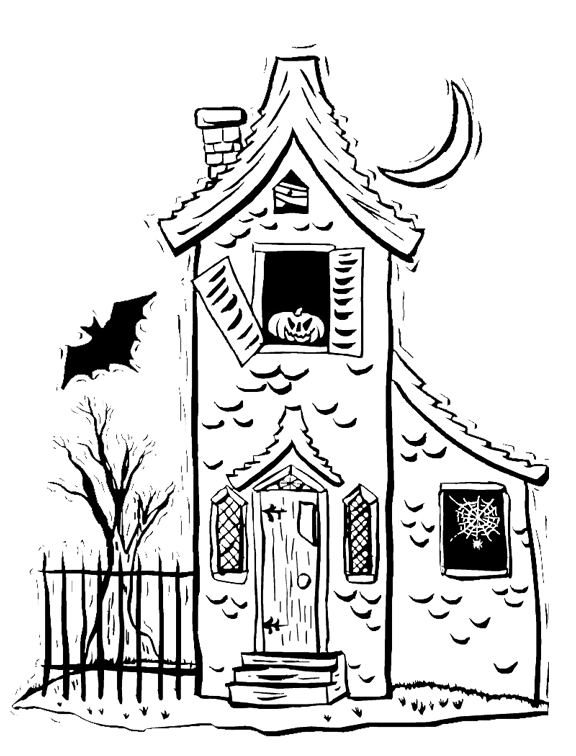 Kids House Drawing: NEW! Spooky House Halloween Coloring Page