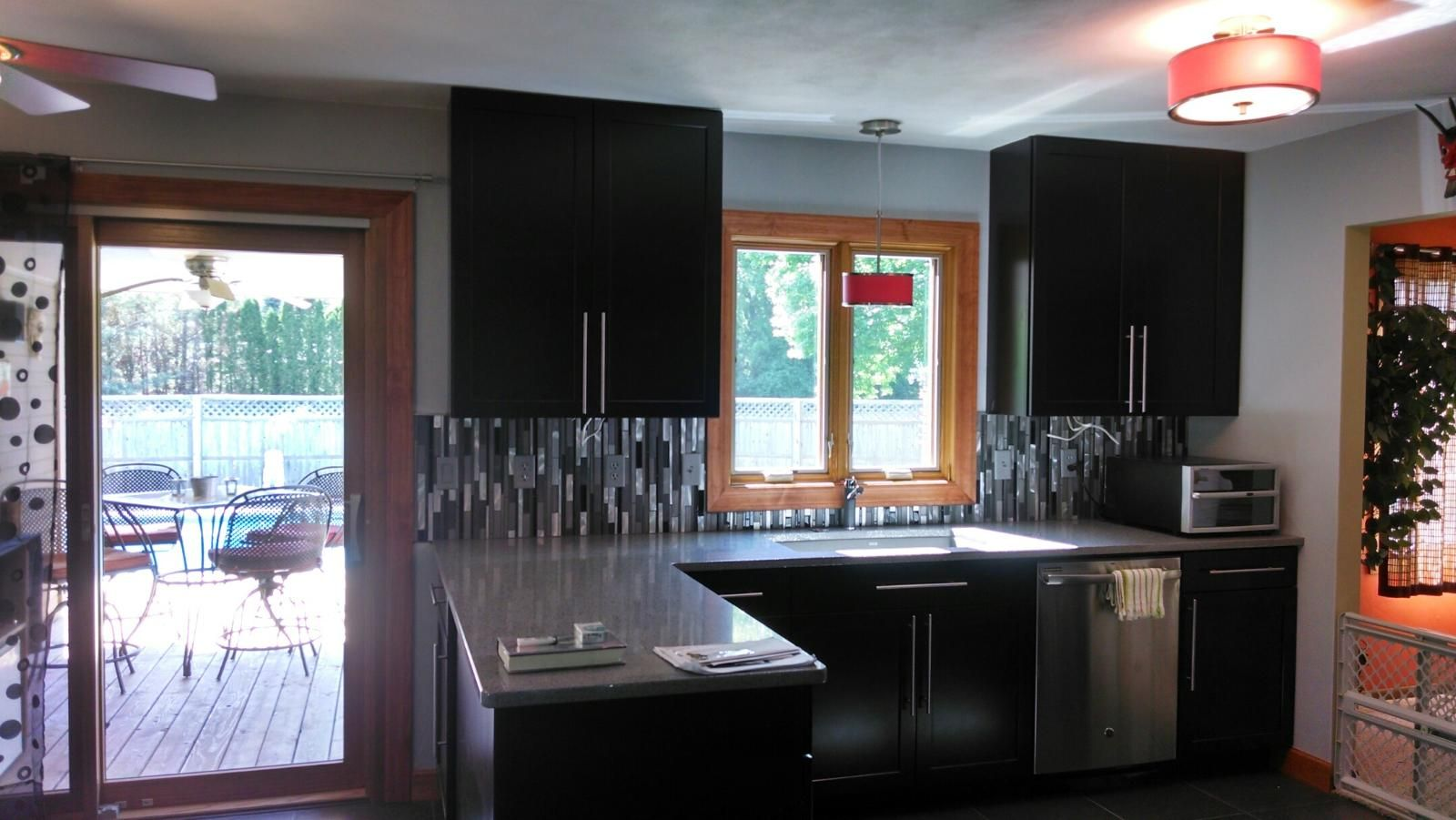 Waypoint Cabinetry, Glazzio Glass & Stainless Back Splash, Silestone Countertops, Blanco Sink & Faucet