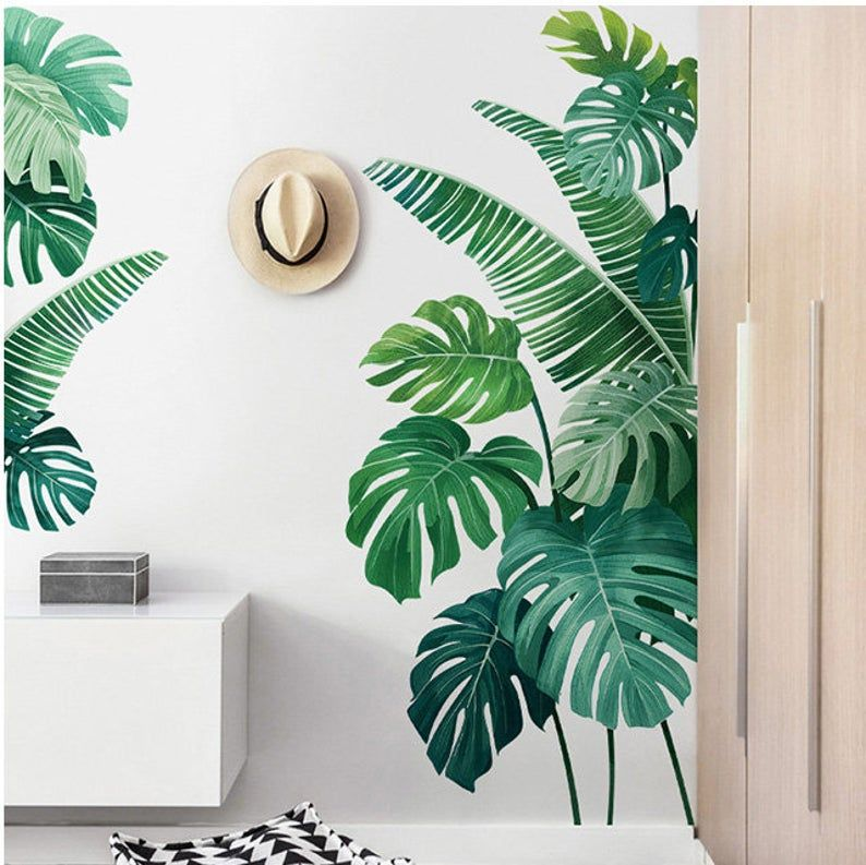 Tropical Monstera Leaf Wall Sticker Fresh Green Planting Etsy Green Wall Decor Wall Paint Designs Wall Painting Decor Tropical leaf canvas painting monstera leaves posters green botanical prints minimalist decoration pictures kitchen wall decor. tropical monstera leaf wall sticker