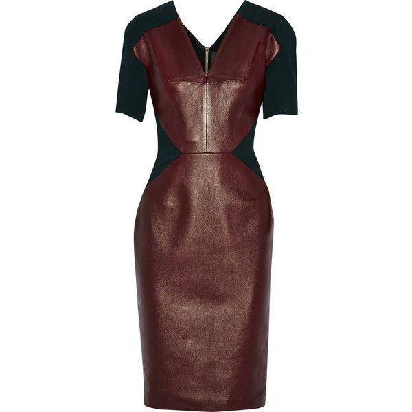 Roland Mouret Nabis leather, crepe and piqué dress featuring polyvore women's fashion clothing dresses red leather zipper dress burgundy dress genuine leather dress pique dress crepe dress