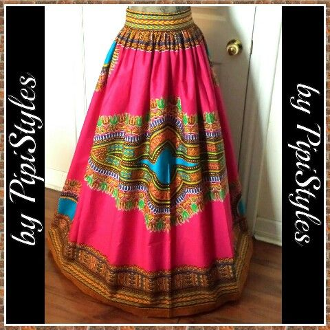 Hot pink african print maxi skirt...