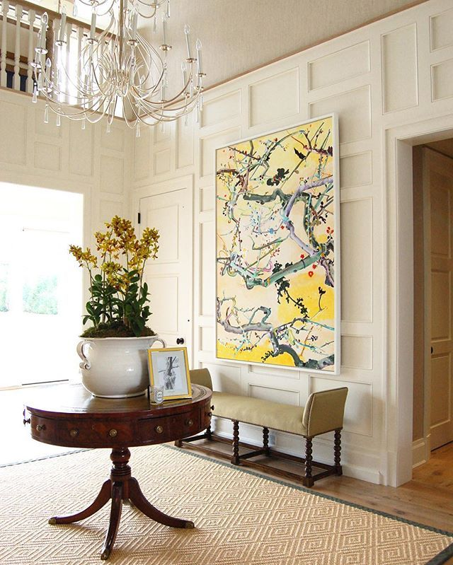 Large Art For Foyer : Great entry round pedestal table and orchids my kind of