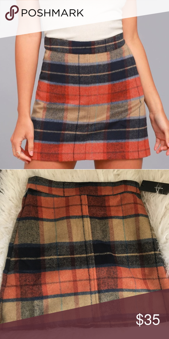 471a55bb2 Lulus Beige Plaid Mini Skirt New with tags! Lulus exclusive. High waist,  soft flannel fabric, A-line silhouette. This would look so cute with a  basic ...