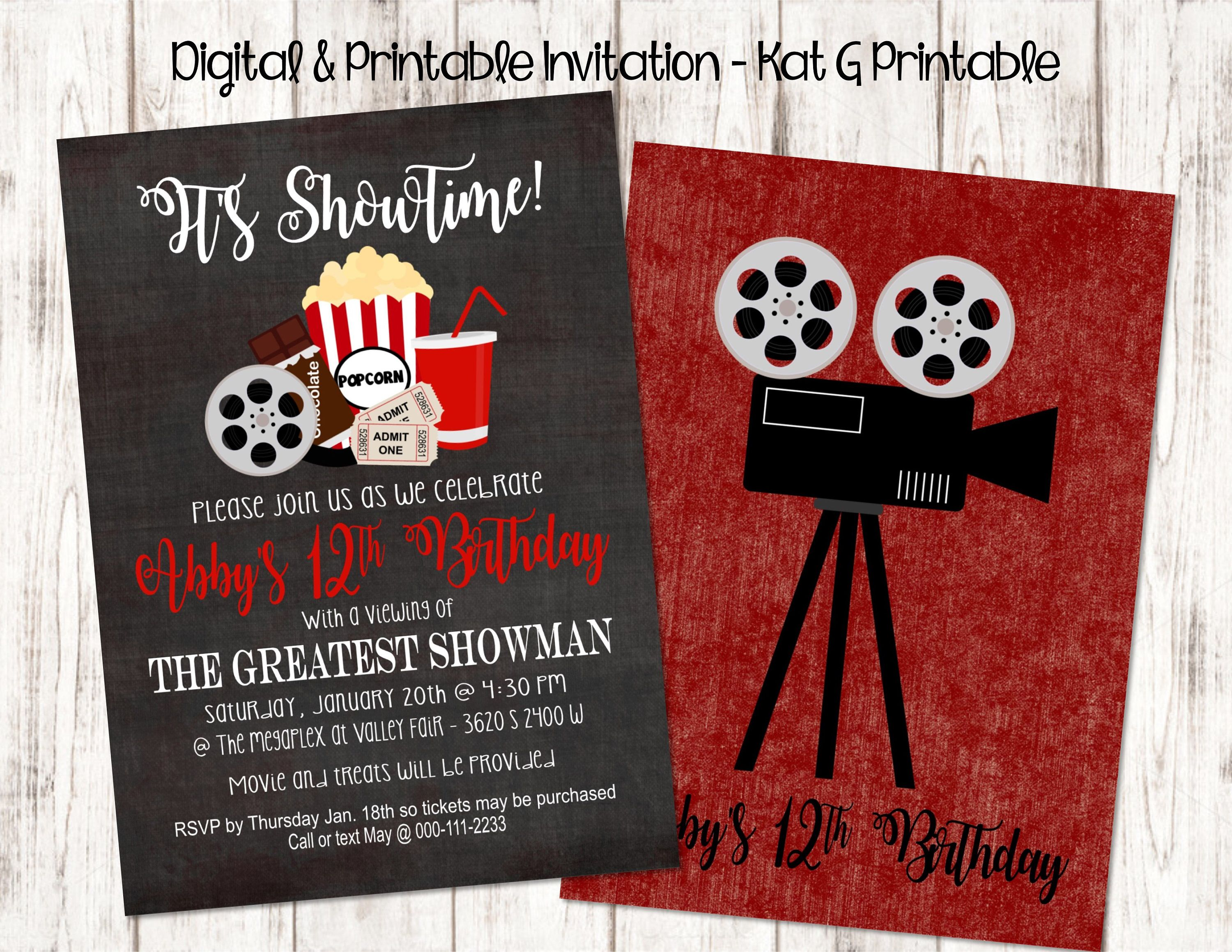 It\'s Showtime! Movie Themed Birthday Party Invitation, Digital and ...