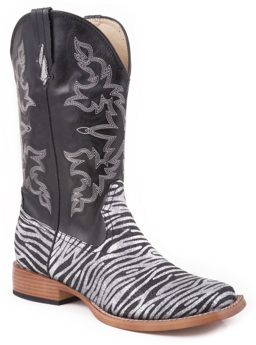 323b5359c54 Roper Faux Leather Glitter Zebra Print Cowgirl Boots - Square Toe available  at  Sheplers