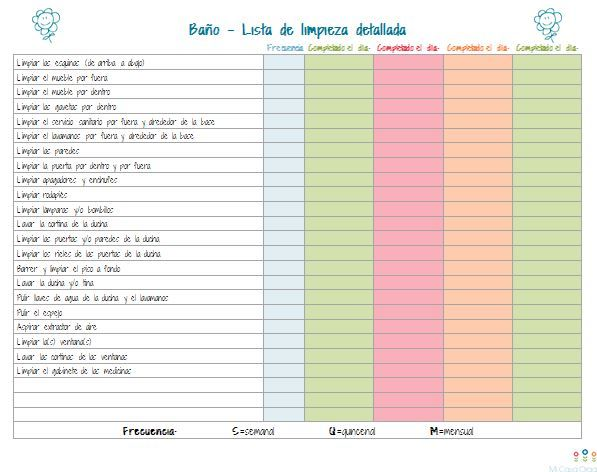 Imprimible Lista De Limpieza Profunda Para El Bao