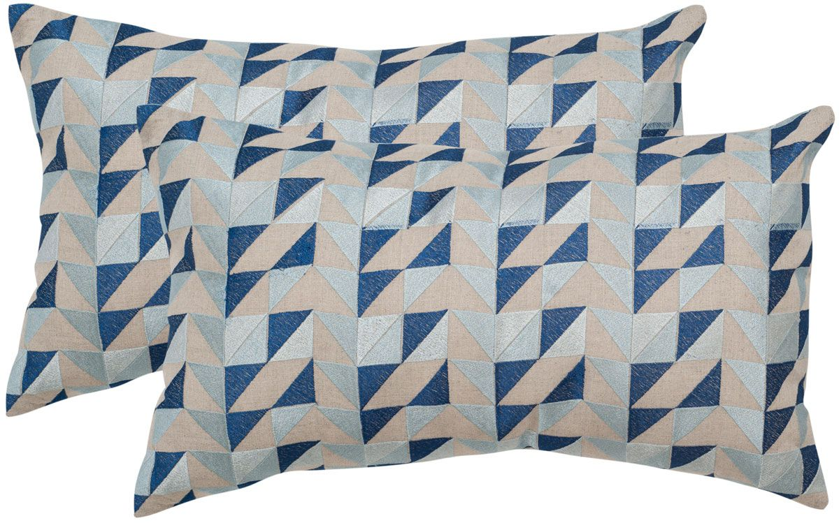 Crisp embroidery in tones of blue creates the intriguing graphic motif of the set of two Nautical Geo linen accent pillows. Crafted of pure linen with soli