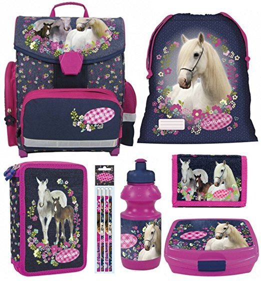 Brotdose 3 tlg Trinkflasche Pony Tasche Pferde Kindergarten Set Rucksack