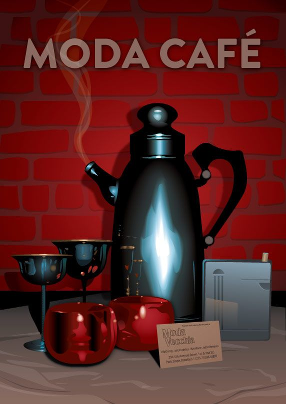Flyer advert for Moda Cafe in Park Slope, Brooklyn.