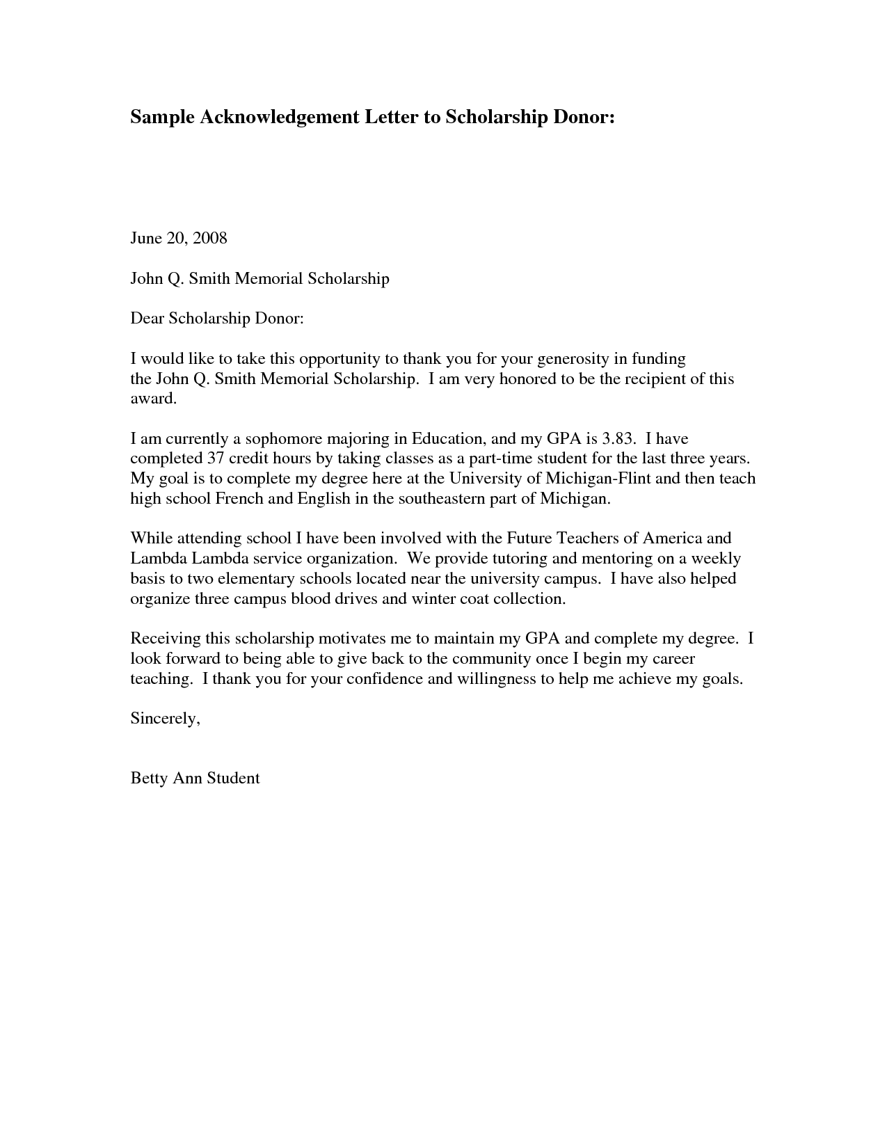 Donor Thank You Letter Sample | Sample AcknowledgementThank You Letter To  Scholarship Donor