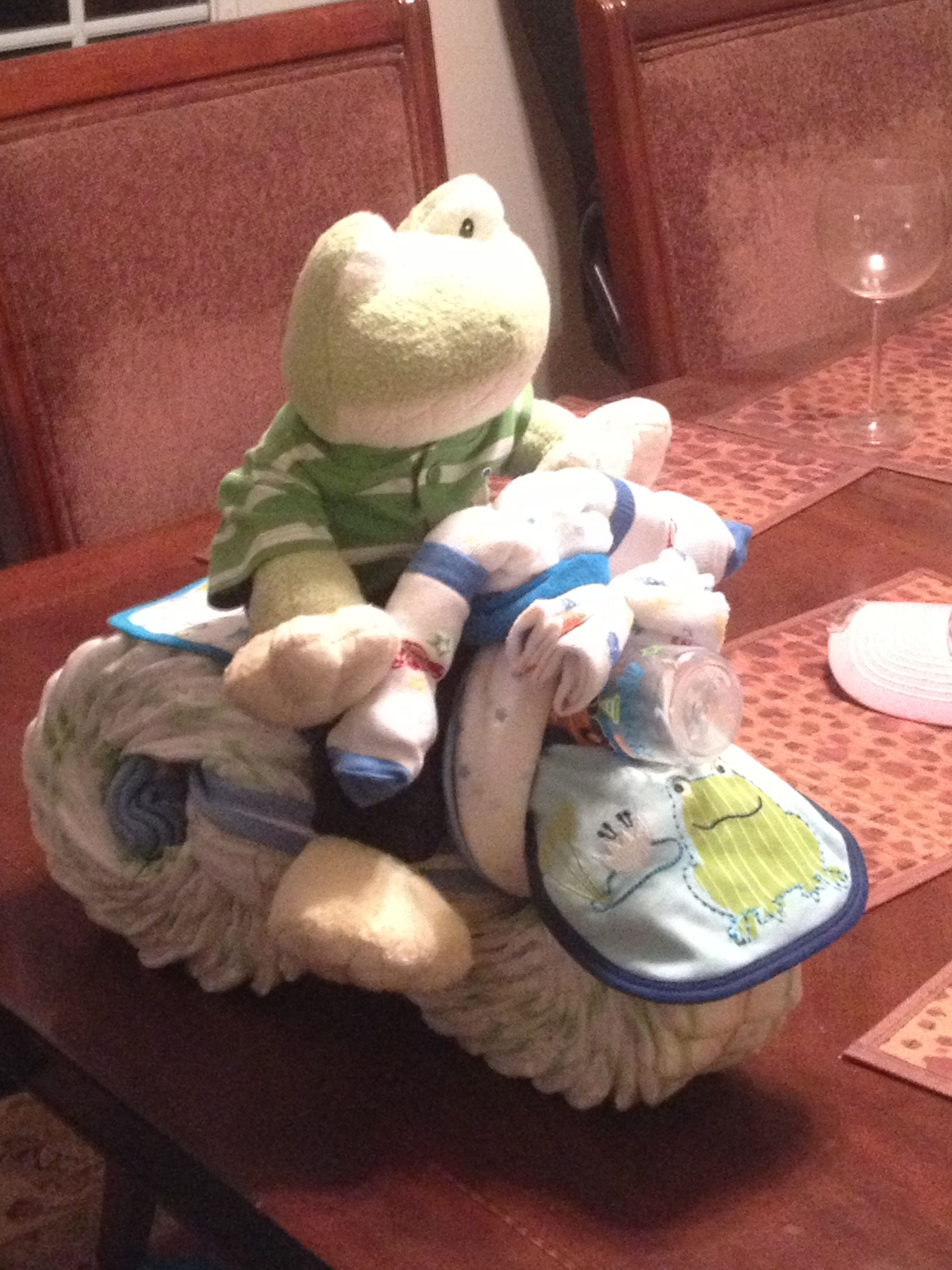 Frog diaper motorcycle for baby showers