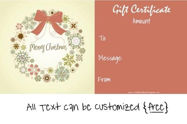 Free Christmas Printable Gift Certificates Free christmas gifts - printable christmas certificates