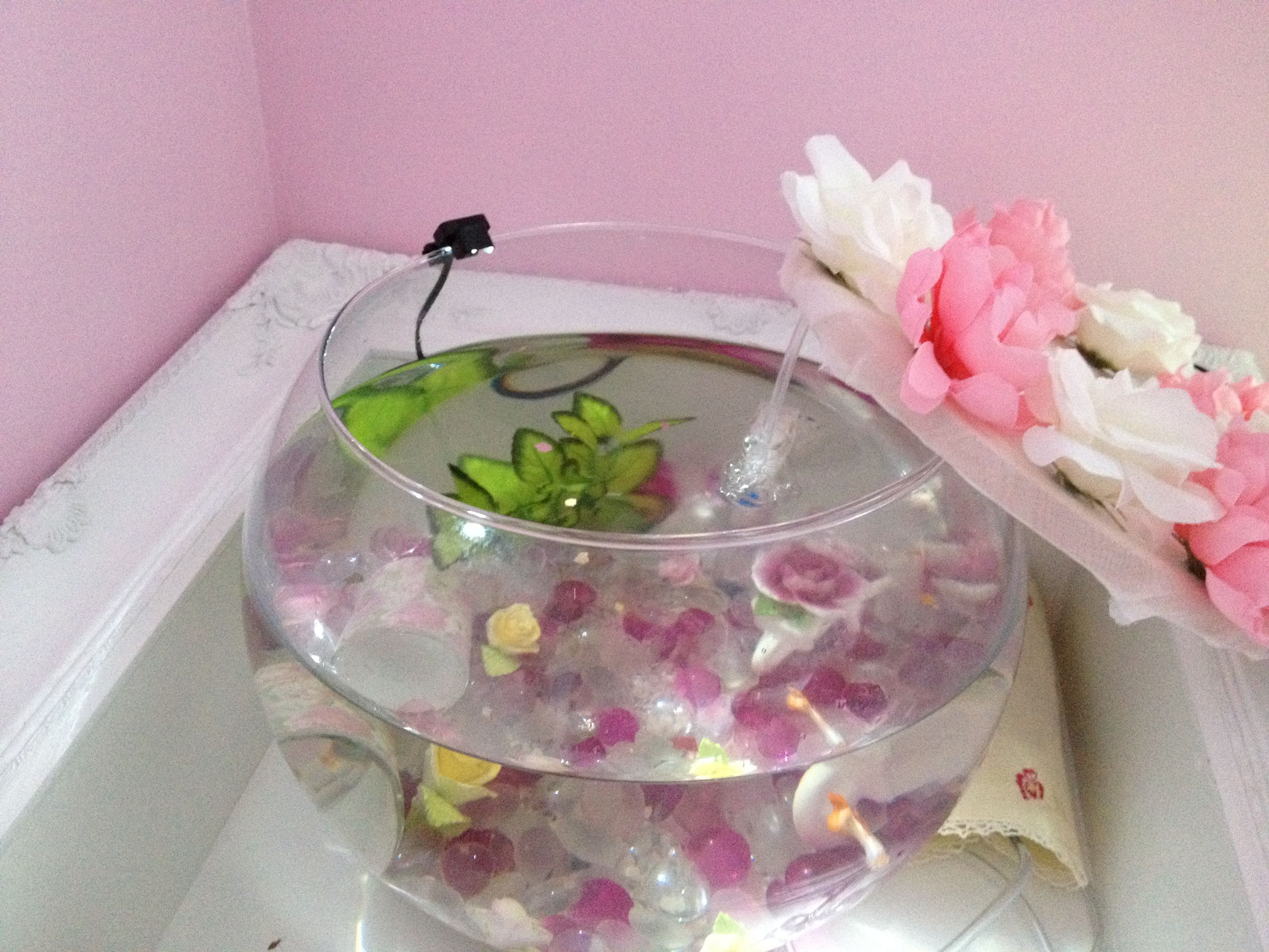 Fish tank used - Shabby Chic Fish Tank Used A Cross Stitch Wood Hoop For The Lid