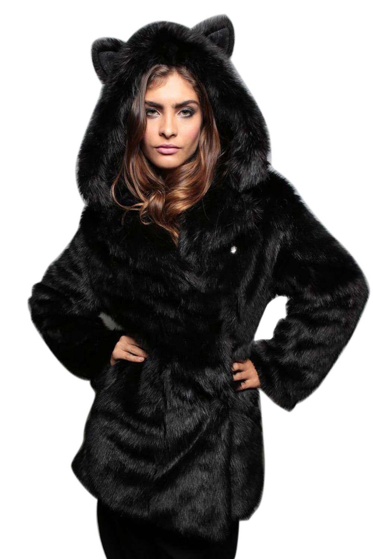 0253279a0ea Faux Fur Cute Ear Hooded Coat in 2019 | Fall and Winter | Black faux ...