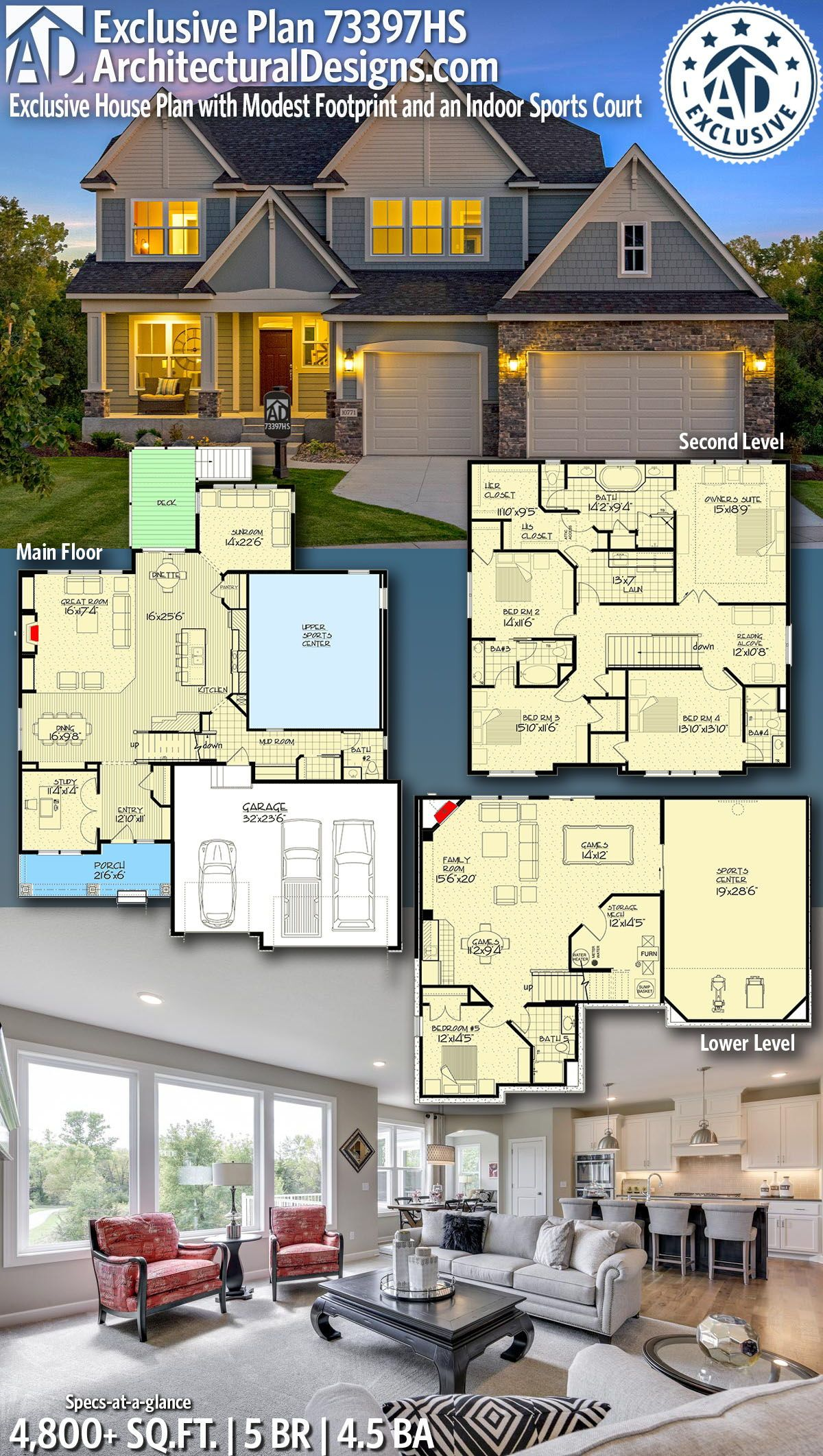 Architectural Designs Exclusive New American Home Plan 73397hs Gives You 5 Bedrooms 4 5 Baths And 4 Exclusive House Plan Architecture House Dream House Plans