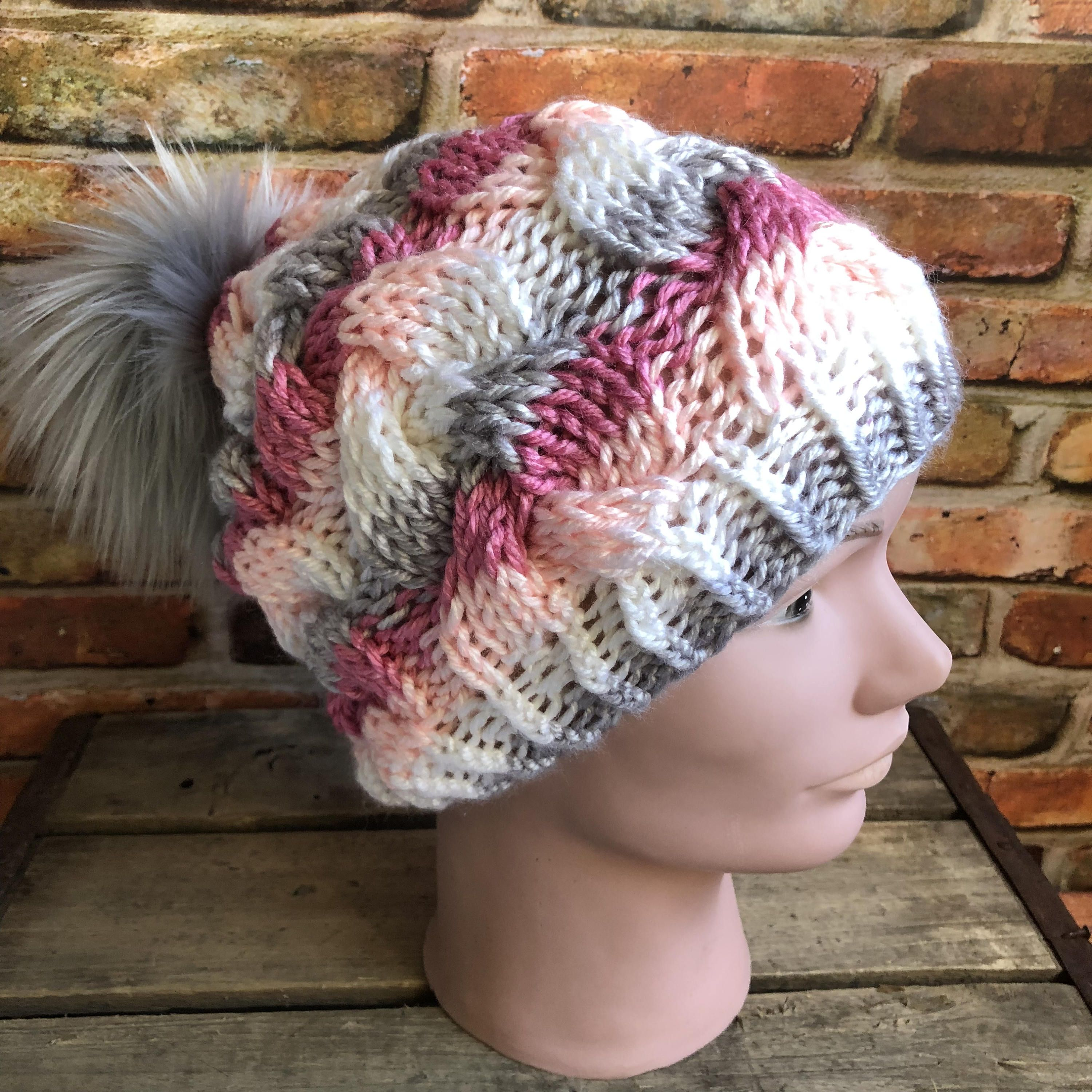 cf323164af5 Hand Knit Braided Cable Beanie Super Soft Acrylic Bulky Yarn Silver Fox  Faux Fur Pom Pom Handmade Pink Grey White Striped Skiing Snow Hat by  kitchenklutter ...