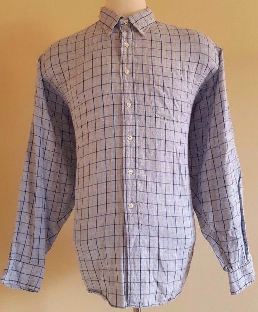 Brooks Brothers 2xl Linen Shirt Mens Blue Multicolor Checked Irish