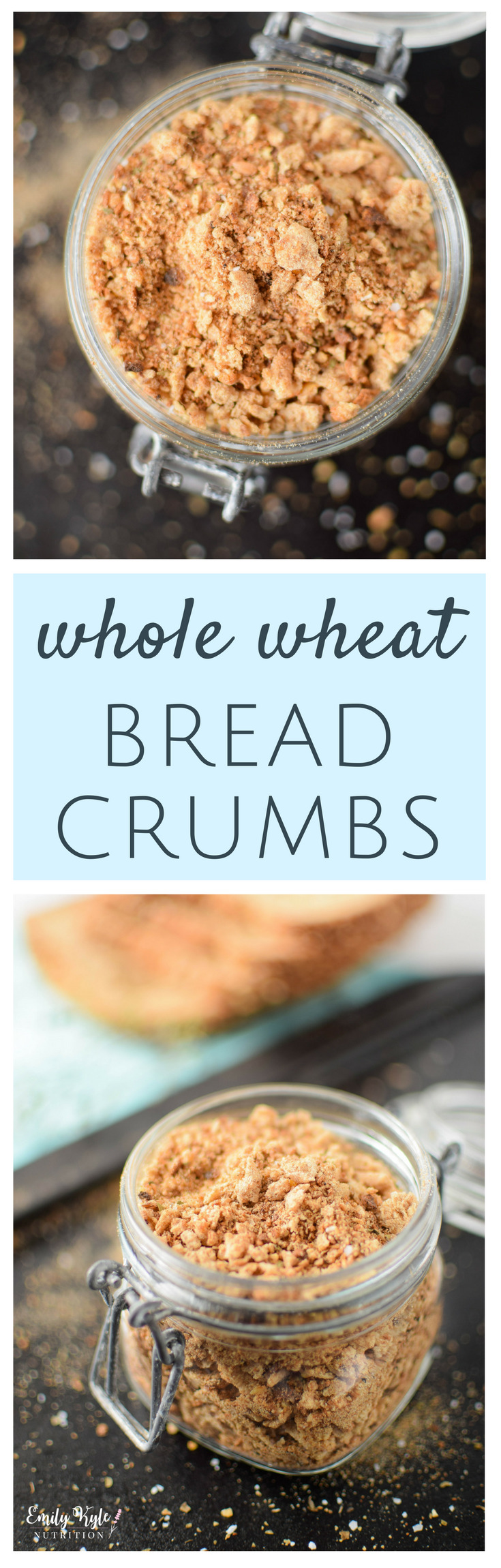 Swap out your pre-made breadcrumbs made from refined white bread or flour for a more nutritious and delicious alternative. Make these Seasoned Homemade Whole Wheat Breadcrumb and enjoy all of the nutritional benefits along with great taste and reduced food waste! via @EmKyleNutrition