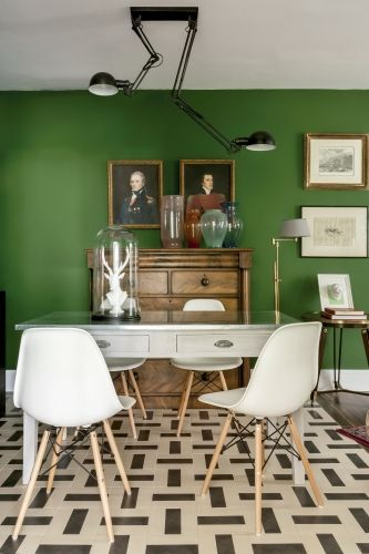 35 m de talento  Colores  Colours  Green dining room Green home decor y Dining room design