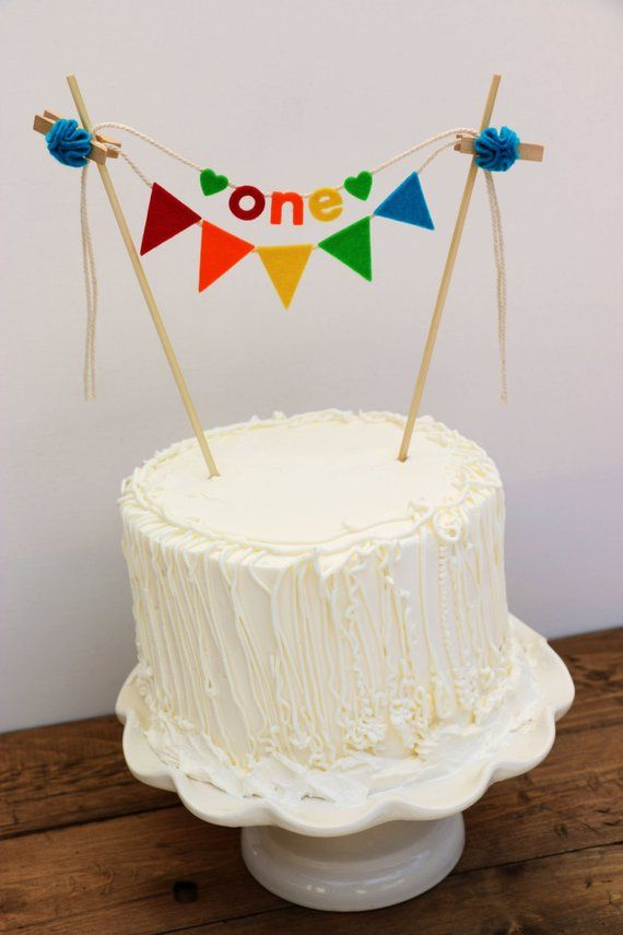 First Birthday Cake Banner Rainbow One Cak