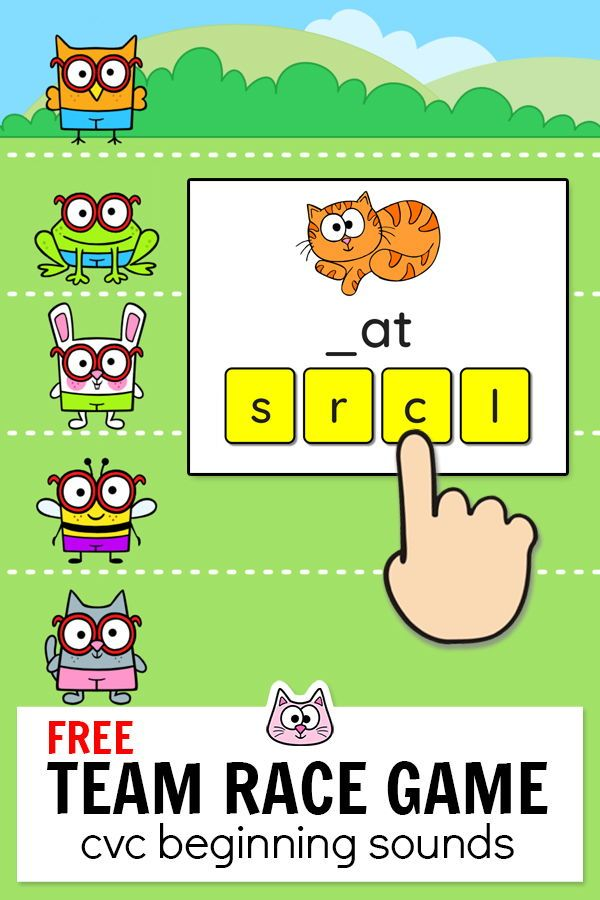 Practice Beginning Sounds With Cvc Words By Playing This Fun And Free Team Building Race Game In Y Phonics Games Kindergarten Phonics Games Smart Board Lessons Phonics online games for kindergarten