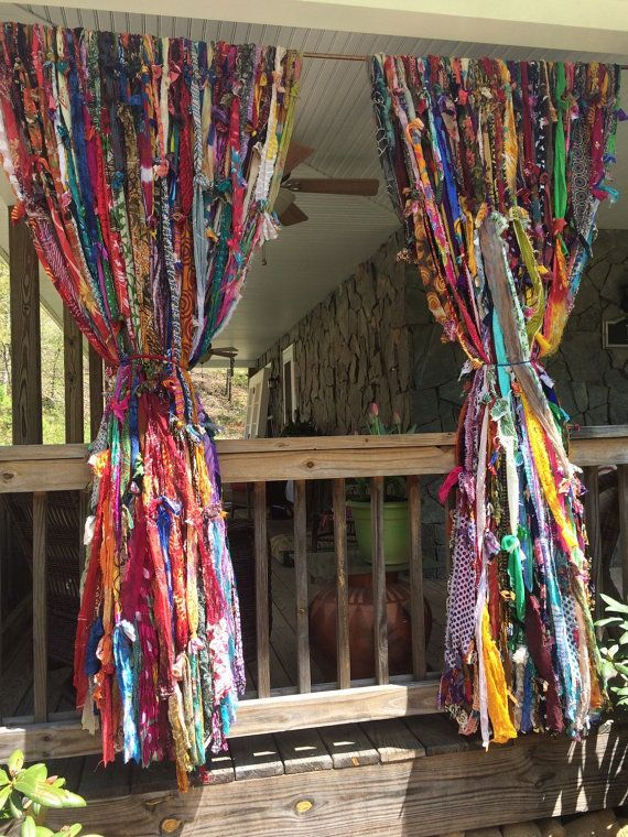 Take A Peek Patio Boho Curtains Indoor Or Outdoor By Melisalanious On Etsy Boho Curtains Rag Curtains Bohemian Curtains