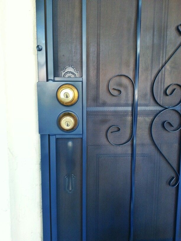 Yes you can paint your security screen door a lovely color! This made a lovely pop of blue for our porch without compromising safety. & Yes you can paint your security screen door a lovely color! This ...
