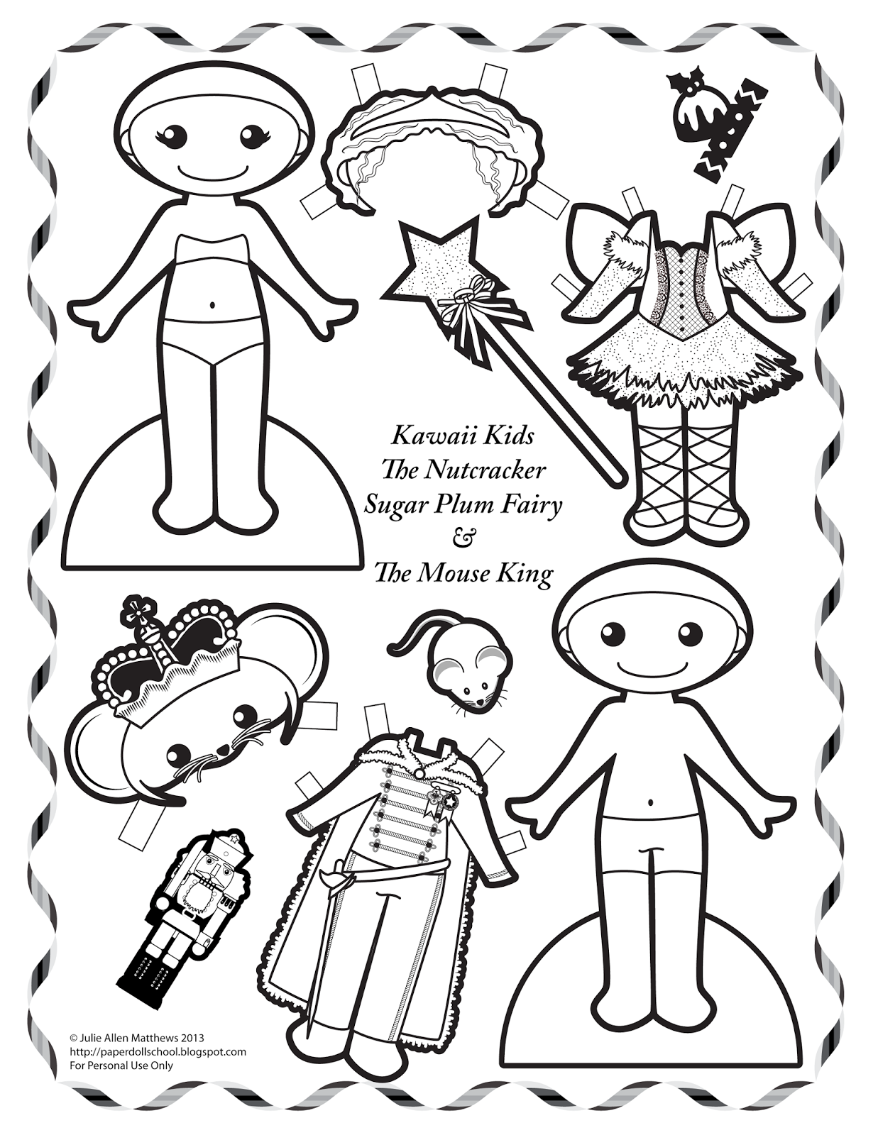 Paper Doll School Kawaii Kids 9 Sugar Plum Fairy And The Mouse King Paper Dolls Sugar Plum Fairy Fairy Coloring Pages