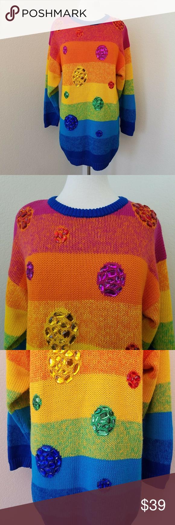Vintage IB Diffusion Sport Jewels Striped Sweater Vintage IB Diffusion  Sport Womens Size Medium Jewels Rainbow fee3f78f2