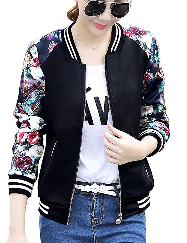 Women S Slim Fit Floral Print Baseball Bomber Jacket Casual Coat Outwear Black C318640n7nh Bomber Jacket Women Bomber Jacket Baseball Bomber Jacket [ 1500 x 1154 Pixel ]