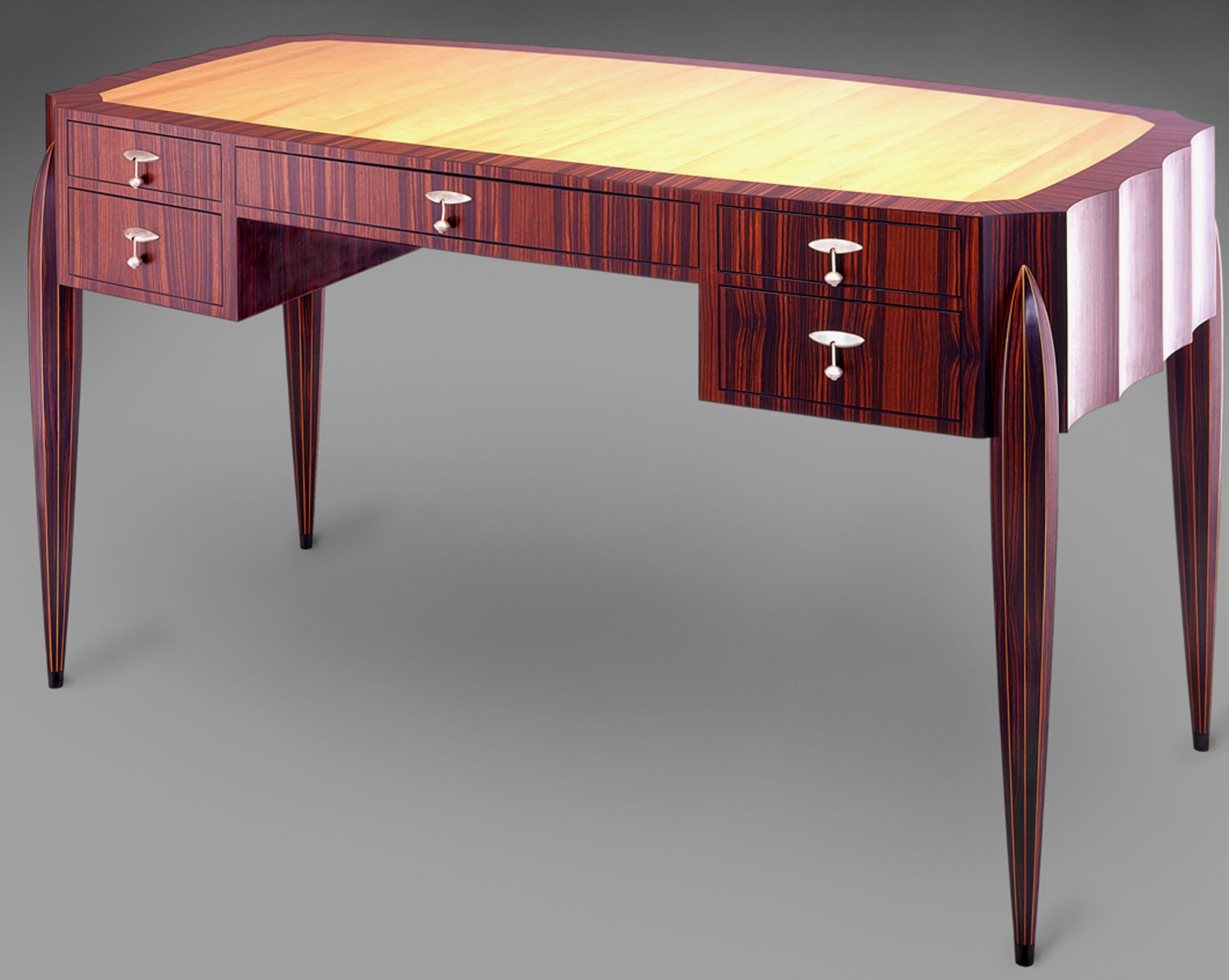 Desk With Pear Top And Ten Sided Tapered Torpedo Legs Art - Art deco furniture designers desks