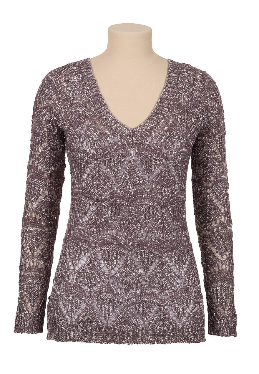 Sequin V-neck pullover Sweater - maurices.com