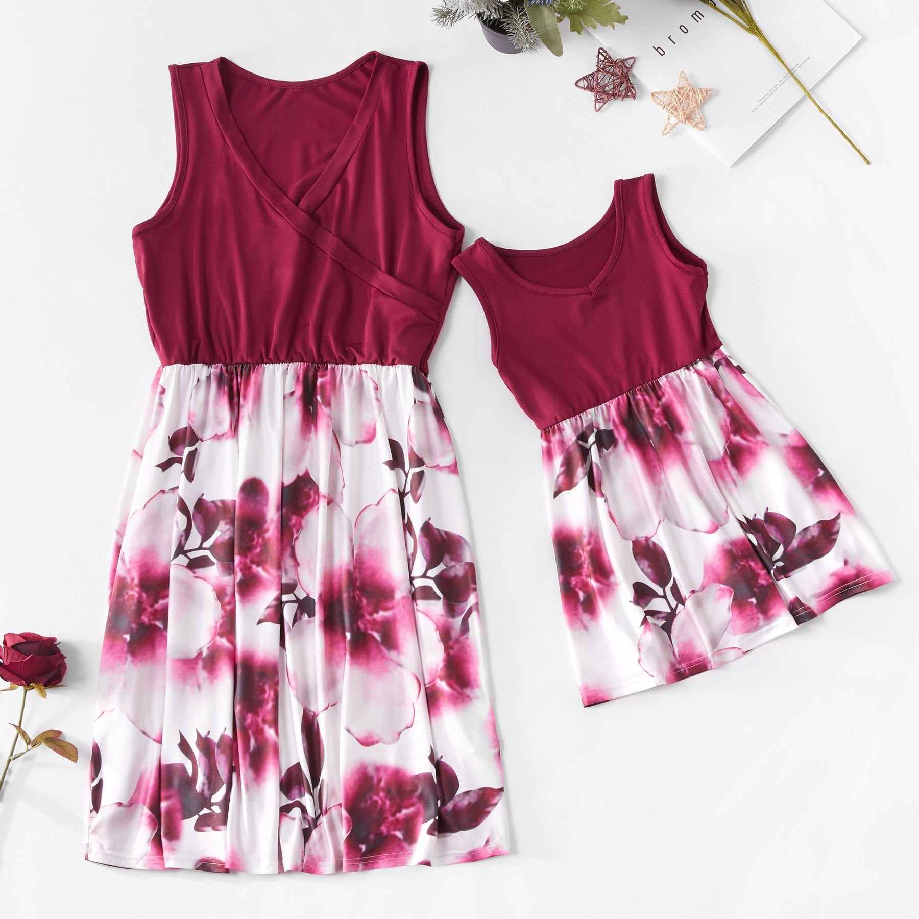 Red Floral Sleeveless Dress for Mommy and Me Mommy, me