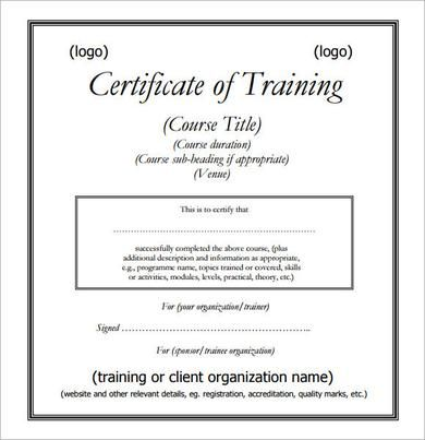 Training Certificate PDFs Template , Free Training Certificate