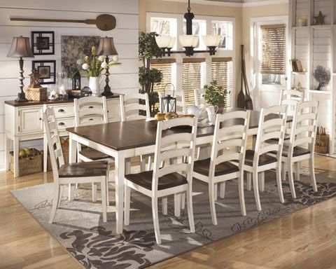 whitesburg vintage casual 11 pcs dining room set w rect. ext table