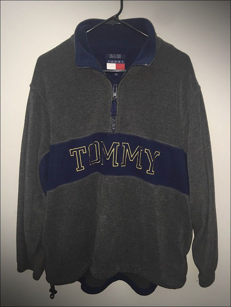 7d942cbf2 Vintage 90's Tommy Hilfiger Spell Out 1/4 Zip Fleece Pullover - Size ...