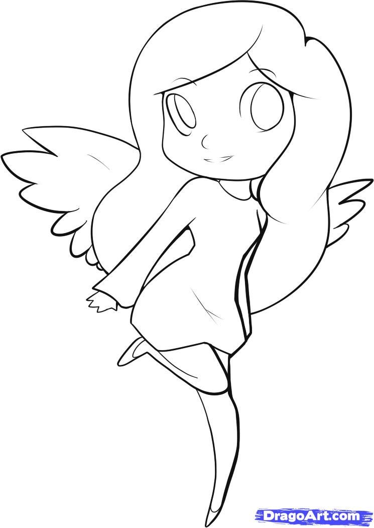 How to draw an easy angel step 5