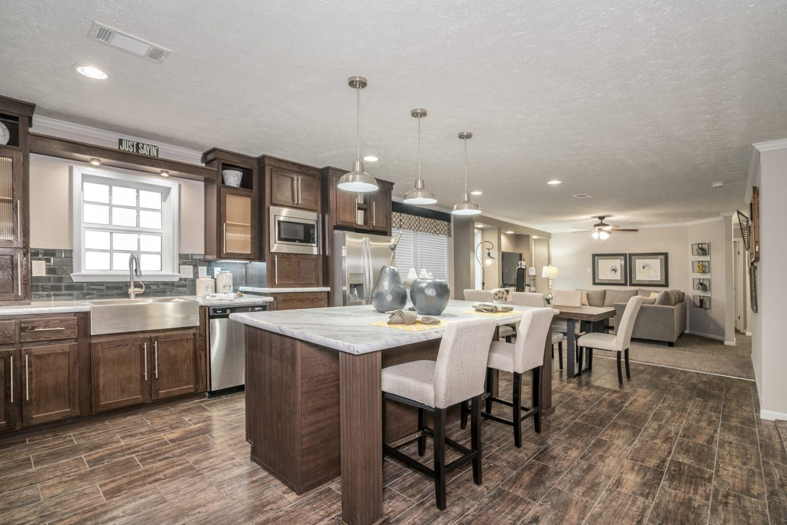kitchen with dark cabinets wood floors stainless steel appliances rh pinterest com Fleetwood Single Wide Mobile Homes Kitchen Islands Amazon