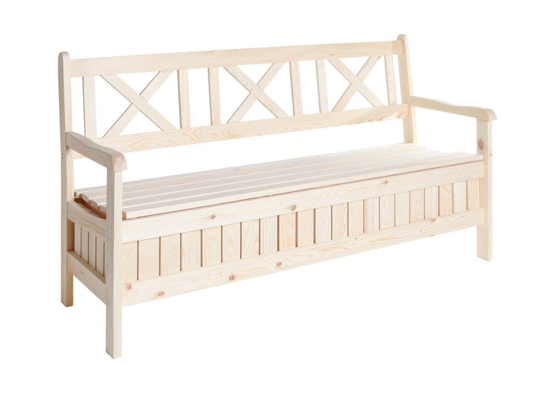 Gartenbank Mit Stauraum 3 Sitzer Ticaa Massivholz | Holz Gartenbank ...