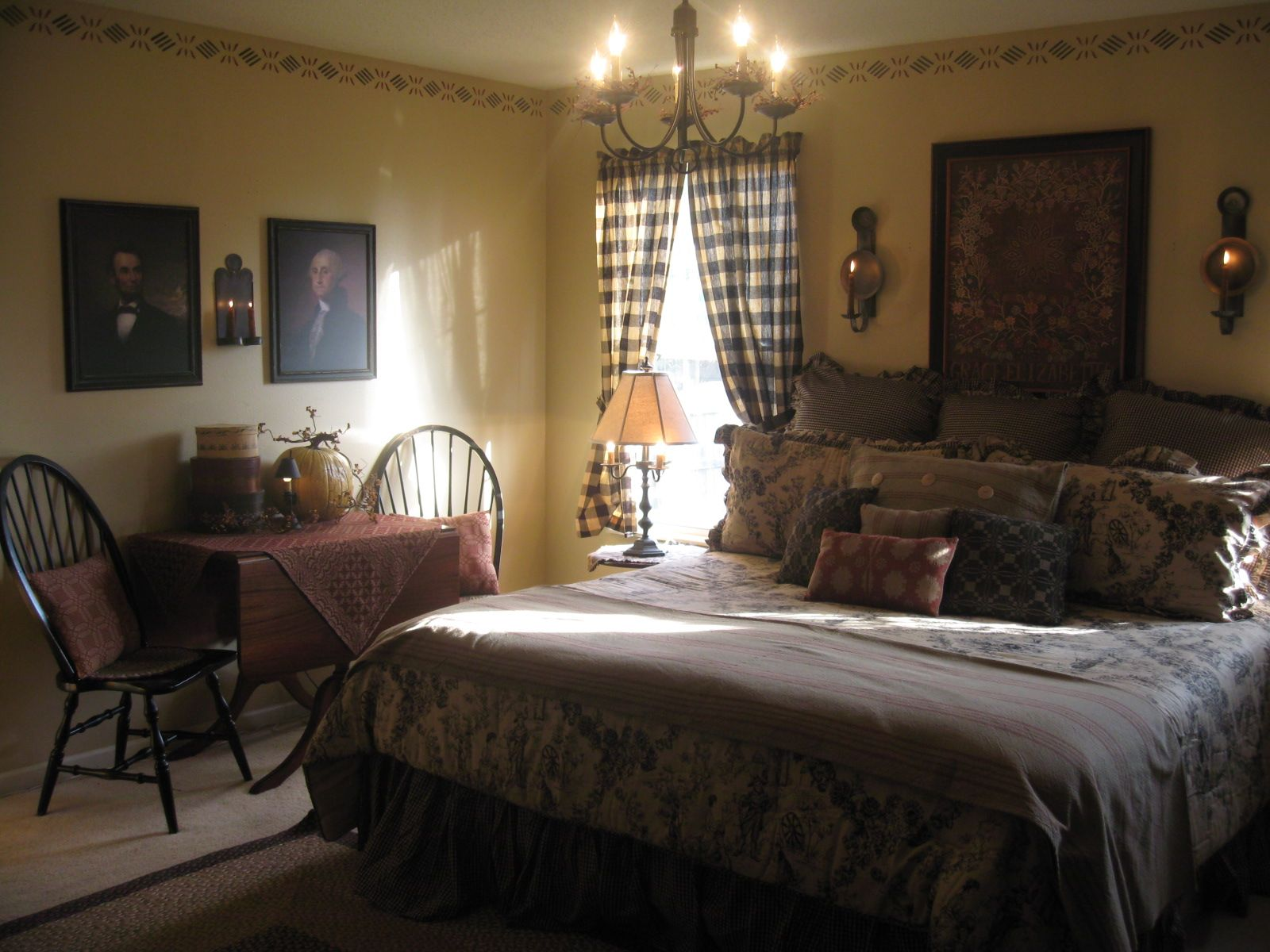 Beautiful colonial style bedroom. Primitive country