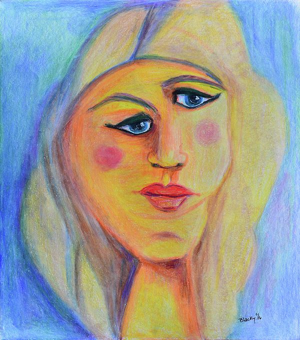 """""""Can't See Eye To Eye"""" abstract modern expressionist portrait.  Colored pencil on paper 9x10.25in $80.00"""
