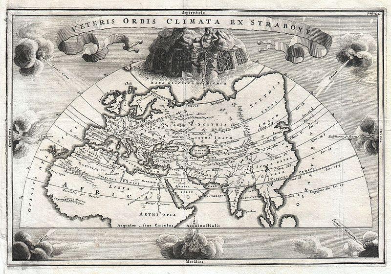 1700 Cellarius Mapa de Ásia, Europa e África de acordo com Estrabão - Geographicus - OrbisClimata-cellarius-1700.jpg