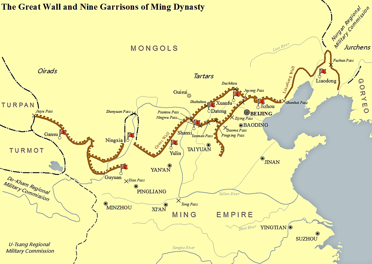 map of the great wall and nine garrisons in ming dynasty on great wall of china id=66919