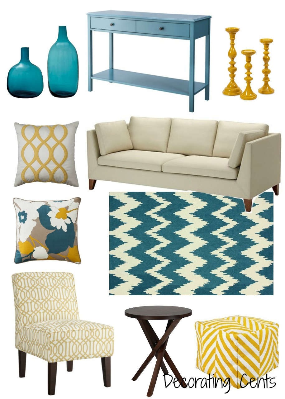 yellow living room decor decorating cents yellow and teal decor 12725